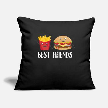 "Chain Best Friends Burger Fries Foodie Funny Gift - Throw Pillow Cover 18"" x 18"""