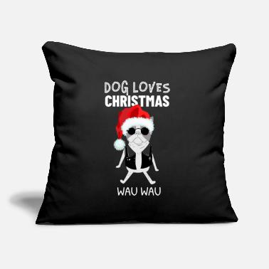 "Happy Face DOG Christmas Santa Claus Geschenkidee Happy - Throw Pillow Cover 18"" x 18"""