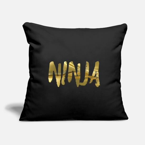 "Birthday Pillow Cases - Ninja gold - Throw Pillow Cover 18"" x 18"" black"