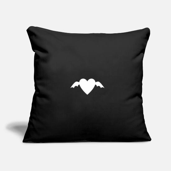 "Love Pillow Cases - Heart with two wings - Throw Pillow Cover 18"" x 18"" black"