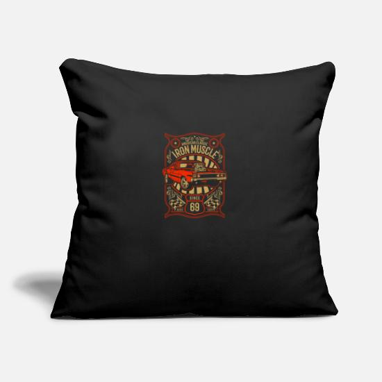 "Wheel Pillow Cases - Iron Muscle - Throw Pillow Cover 18"" x 18"" black"