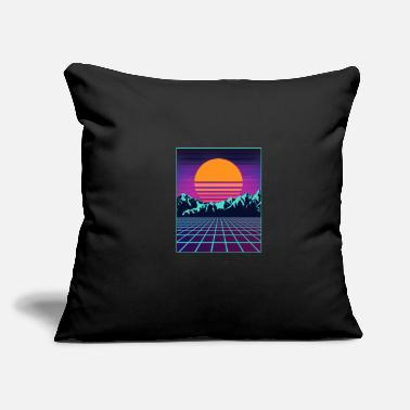 "Outrun Style Retro 80s Aesthetic Vaporwave Outrun Style Sun - Throw Pillow Cover 18"" x 18"""