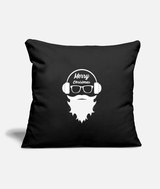 "Hipster Pillow Cases - DJ music Santa Claus - Hipster - Throw Pillow Cover 18"" x 18"" black"