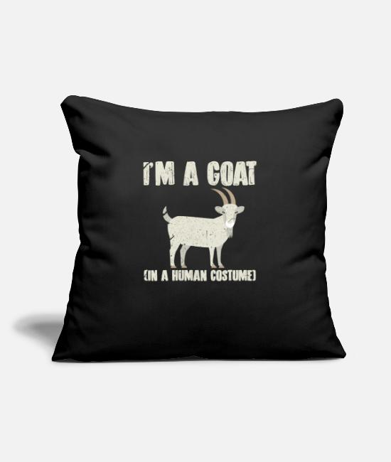 "Animal Welfare Pillow Cases - I'm A Goat In A Human Costume - Throw Pillow Cover 18"" x 18"" black"