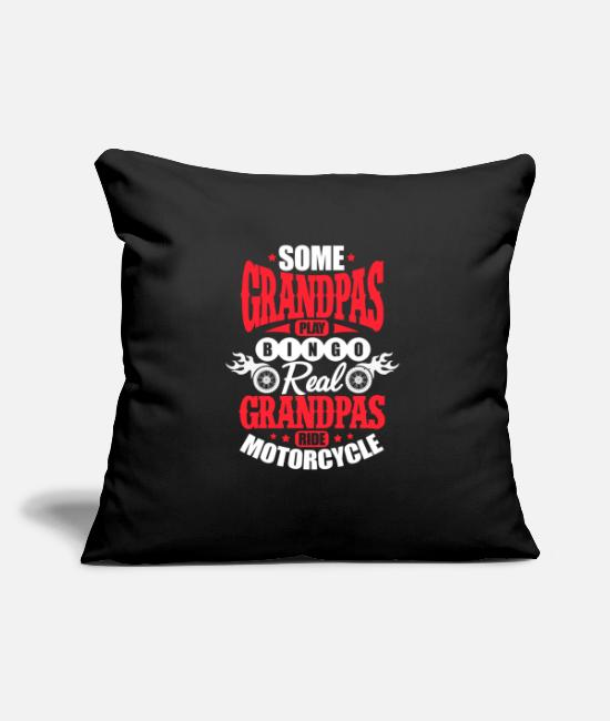 "Grandpa Pillow Cases - Grandpas Play Bingo Real Grandpas Ride Motorcycles - Throw Pillow Cover 18"" x 18"" black"
