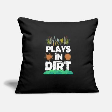 "Playing Plays In Dirt Gardening - Throw Pillow Cover 18"" x 18"""