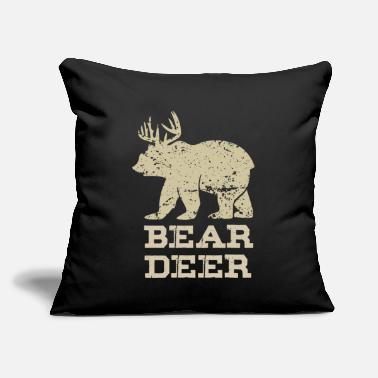 "Antler Bear Deer Funny Beer Retro Vintage - Throw Pillow Cover 18"" x 18"""