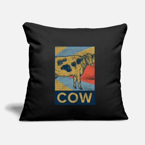 "Gift Idea Pillow Cases - Cow - Throw Pillow Cover 18"" x 18"" black"