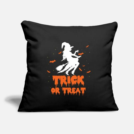 "Gift Idea Pillow Cases - Trick Or Treat - Throw Pillow Cover 18"" x 18"" black"
