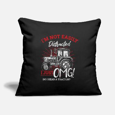 "Distracted Tractors I Am Not Easily Distracted Tractor - Throw Pillow Cover 18"" x 18"""