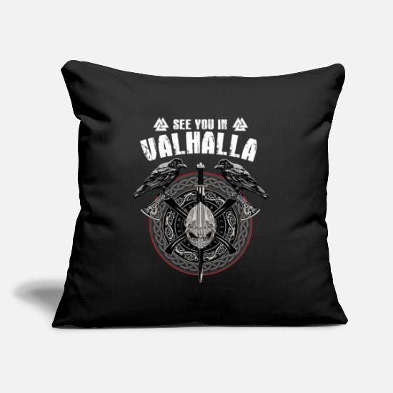 "Son Pillow Cases - Valhalla Odin design with Huggin and Muninn and - Throw Pillow Cover 18"" x 18"" black"