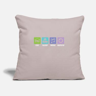"Bass Eat Sleep Music Repeat - Throw Pillow Cover 18"" x 18"""