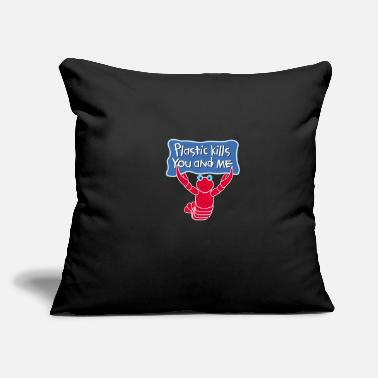 "Plastic Plastic Kills. No Plastic - Throw Pillow Cover 18"" x 18"""