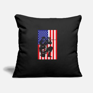 "Paintball Guy in front of American Flag - Throw Pillow Cover 18"" x 18"""
