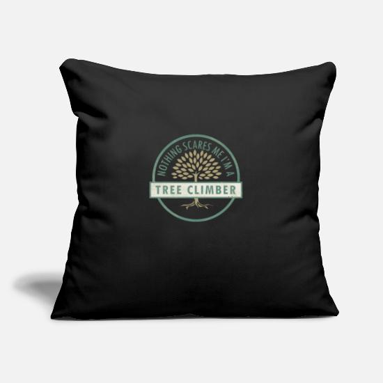 "Tree Pillow Cases - Tree Climbing Forestry Recreational Activity Tree - Throw Pillow Cover 18"" x 18"" black"