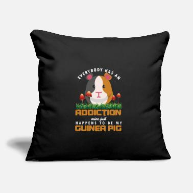 "Domestic Cavy Everybody Has An Addiction Cavy Guinea Pig - Throw Pillow Cover 18"" x 18"""