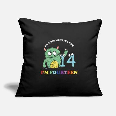 "14 Years Old Im A Big Monster Now 14 th Birthday Party Gift - Throw Pillow Cover 18"" x 18"""