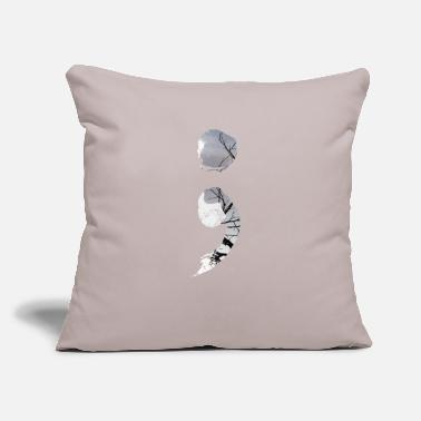 "Health Cool Mental Health - Semicolon Happiness Light - Throw Pillow Cover 18"" x 18"""