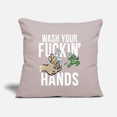 "Meme WASH YOUR FUCKING HANDS Funny Quarantine Meme - Throw Pillow Cover 18"" x 18"""