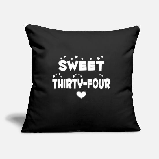 "Happy Holidays Pillow Cases - Sweet Thirty Four Happy Thirty Four Birthday - Throw Pillow Cover 18"" x 18"" black"