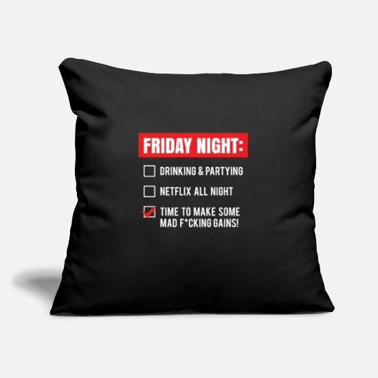"Strong Pillow Cases - Friday Night2 - Throw Pillow Cover 18"" x 18"" black"