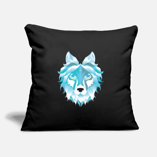 "Wolf Pillow Cases - Silver Snow Wolf Art Wolves Pack Alpha Canidae - Throw Pillow Cover 18"" x 18"" black"
