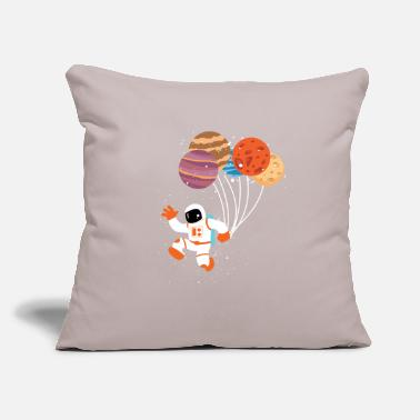 "Spaceman Planet Balloons - Throw Pillow Cover 18"" x 18"""