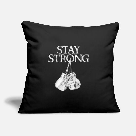 "Mma Pillow Cases - Stay strong gloves - Throw Pillow Cover 18"" x 18"" black"