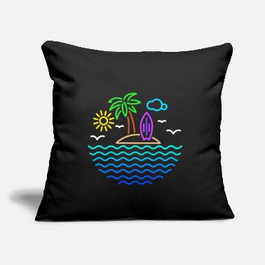 "Caribbean Sea Surfing Holiday Palm Trees Sun Beach Vacation - Throw Pillow Cover 18"" x 18"""