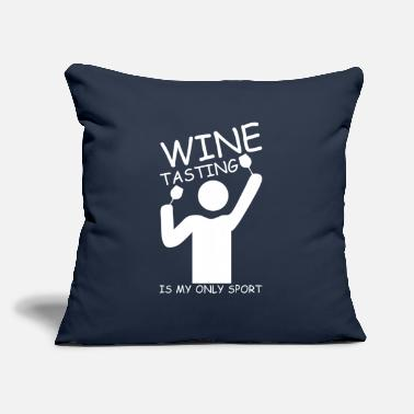 "Lady Stick Figure Wine Tasting Is My Only Sport Stick Figure Gift - Throw Pillow Cover 18"" x 18"""