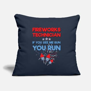 "Technician Fireworks Director If I Run You Run 4th of July - Throw Pillow Cover 18"" x 18"""