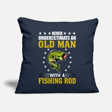 "Rod Never Underestimate An Old Man With Fishing Rod - Throw Pillow Cover 18"" x 18"""