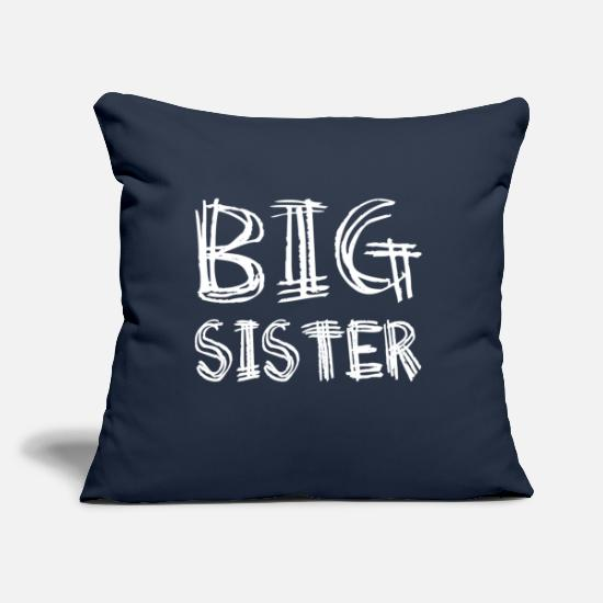 "Big Pillow Cases - Big Sister - Baby - Birth - Throw Pillow Cover 18"" x 18"" navy"