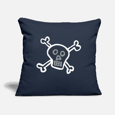 "Crossed Bones Cartoon skull and cross bones - Throw Pillow Cover 18"" x 18"""