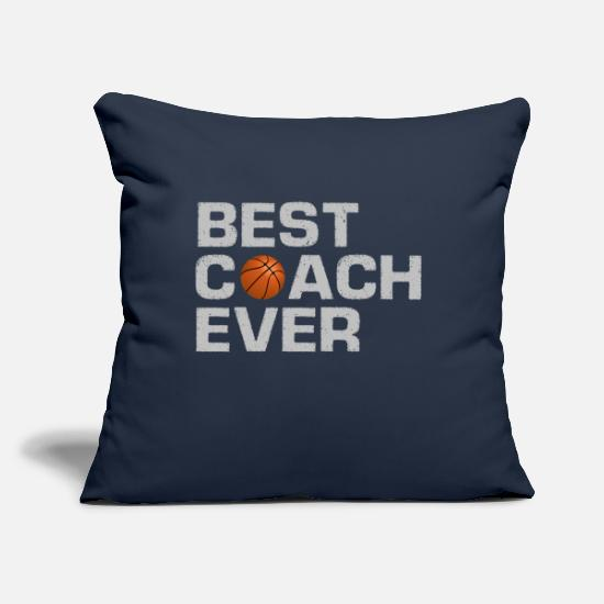 "Center Pillow Cases - Best Coach Ever - Basketball - Trainer - Training - Throw Pillow Cover 18"" x 18"" navy"