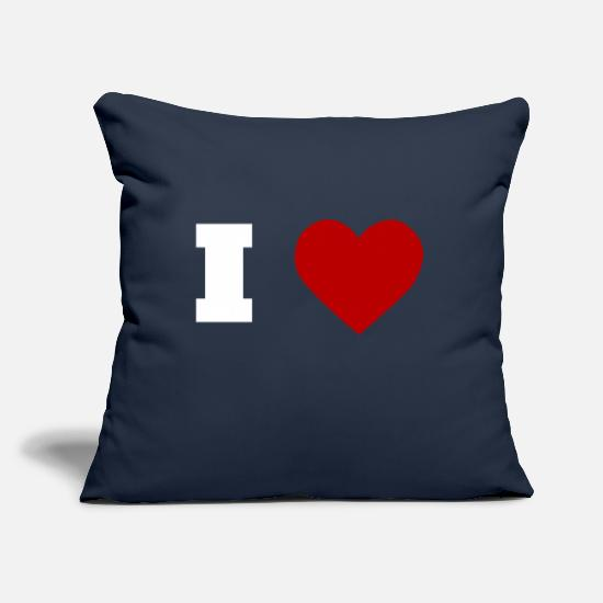 "Love Pillow Cases - I Love - Throw Pillow Cover 18"" x 18"" navy"