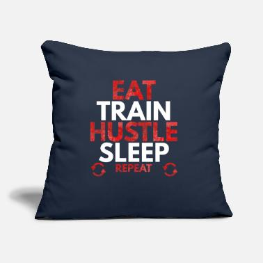 "No Pain No Gain EAT TRAIN HUSTLE SLEEP REPEAT - Throw Pillow Cover 18"" x 18"""