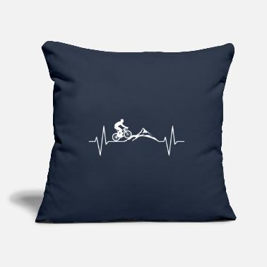 "Downhill Heart rate gift bike cyclist sport - Throw Pillow Cover 18"" x 18"""