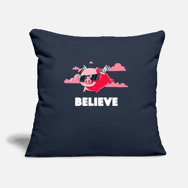 "Hot Pink Believe Hot Pink - Throw Pillow Cover 18"" x 18"""