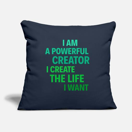 "Selflove Pillow Cases - I am a powerful creator. I create the life I want - Throw Pillow Cover 18"" x 18"" navy"