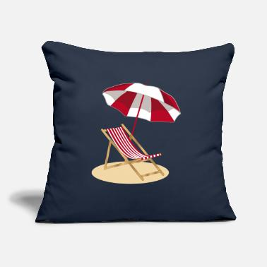 "Eye Deck chair on the beach and umbrella - Throw Pillow Cover 18"" x 18"""