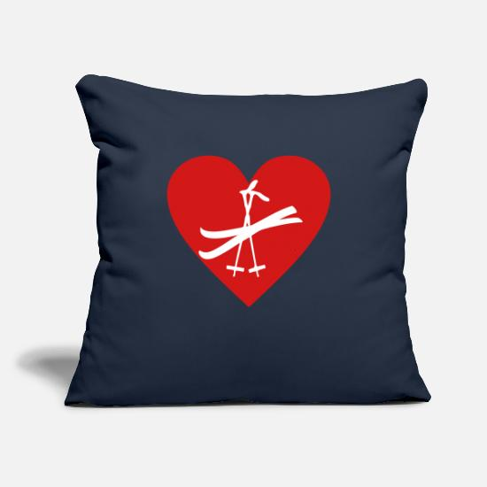 "Water Pillow Cases - ski - Throw Pillow Cover 18"" x 18"" navy"