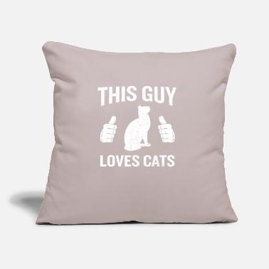 "This Guy Loves Cats Funny Cat Lover Gift - Throw Pillow Cover 18"" x 18"""