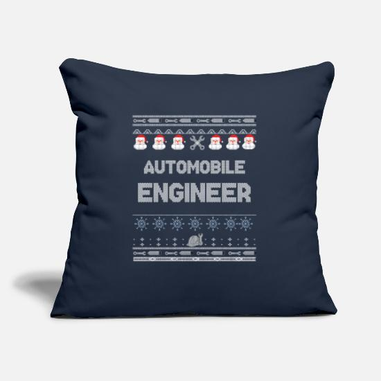 "Ugly Christmas Sweater Pillow Cases - AUTOMOBILE Engineer Ugly Christmas Sweater - Throw Pillow Cover 18"" x 18"" navy"