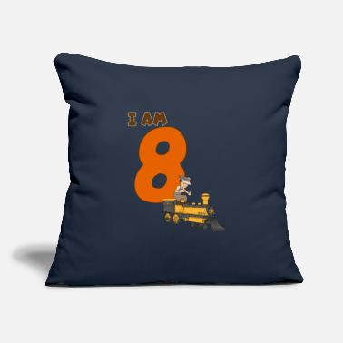 "Old 8th Birthday T-Shirt Boys Locomotive, Train - Throw Pillow Cover 18"" x 18"""