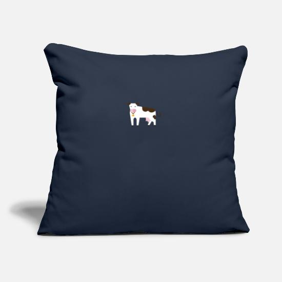 "Gift Idea Pillow Cases - Cow t-shirt with cowbell - Throw Pillow Cover 18"" x 18"" navy"