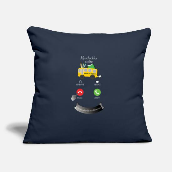 "School Pillow Cases - My school bus is calling:Back to school. - Throw Pillow Cover 18"" x 18"" navy"