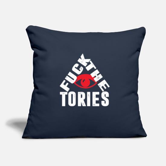 "Conservative Pillow Cases - Fuck The Tories Boris Election Funny Anti Tory - Throw Pillow Cover 18"" x 18"" navy"