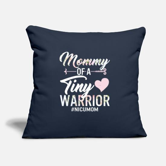 "Grandma Pillow Cases - Mommy Of A Tiny Warrior NICU Mom Mother of NICU - Throw Pillow Cover 18"" x 18"" navy"