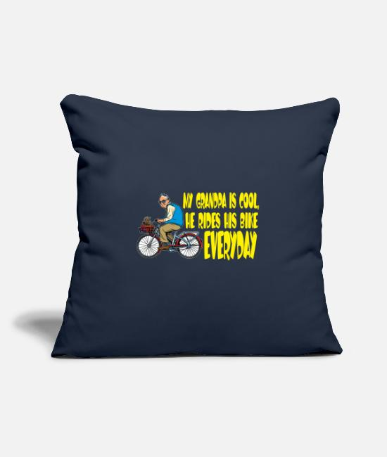 "Grandpa Pillow Cases - My Grandfather is a cool cicyler & biker / gift - Throw Pillow Cover 18"" x 18"" navy"